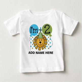 Personalisierter Löwe-2. Geburtstags-T-Shirt Baby T-shirt