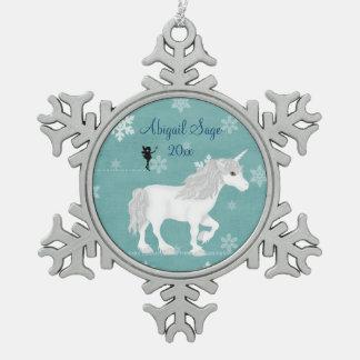 Personalisierter magischer weißer Unicorn und Fee Schneeflocken Zinn-Ornament