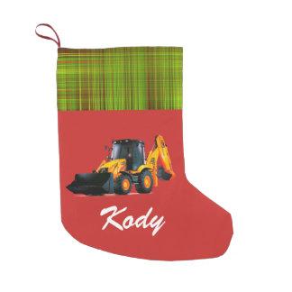 Personalisierter moderner gelber Lader-Traktor auf Kleiner Weihnachtsstrumpf