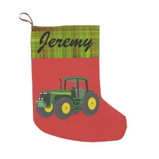 Personalisierter moderner grüner Traktor Kleiner Weihnachtsstrumpf