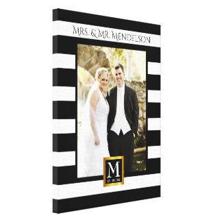 Personalisierter moderner Hochzeits-Fotorahmen Leinwanddruck