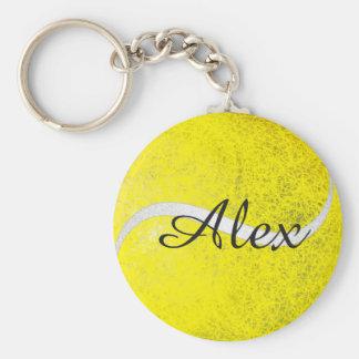 Personalisierter Name des Tennisballs Standard Runder Schlüsselanhänger