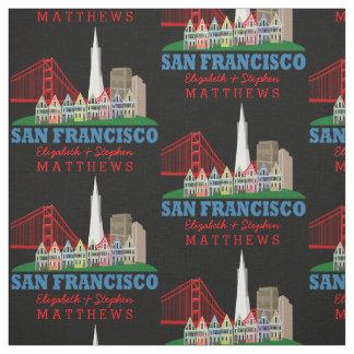 Personalisierter Namen-San Francisco Skyline Stoff