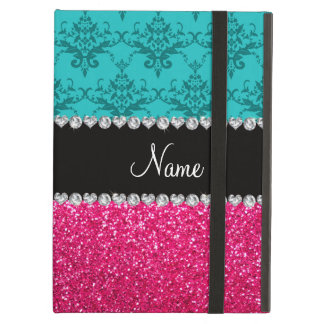 Personalisierter Namenstürkisdamast-Rosa-Glitter
