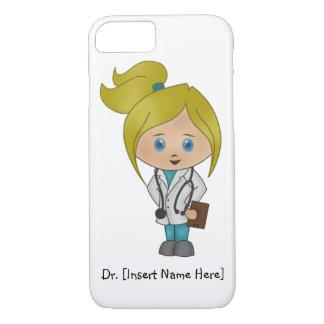 Personalisierter niedlicher blonder Mädchen-Doktor iPhone 7 Hülle