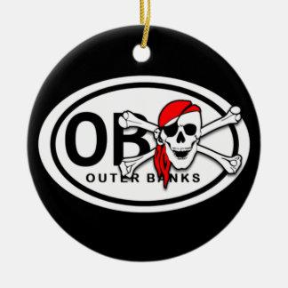 Personalisierter OBX Schädel und Knochen-Pirat Keramik Ornament