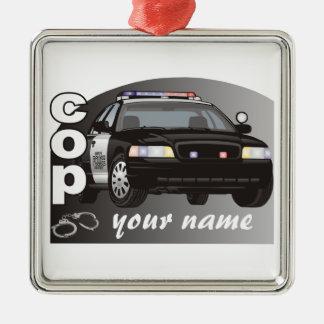 Personalisierter Polizist Quadratisches Silberfarbenes Ornament
