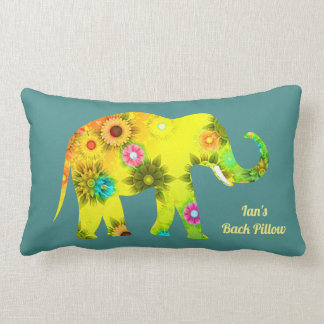 Personalisierter psychedelischer Blumenelefant Lendenkissen