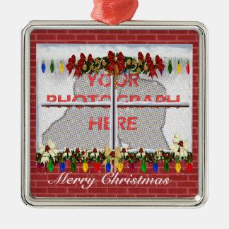 Personalisierter Quadratisches Silberfarbenes Ornament