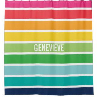 Personalisierter Regenbogen Stripes Duschvorhang