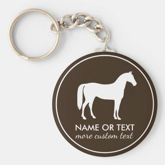 Personalisierter Reiterpferderuecken-Reitname Standard Runder Schlüsselanhänger