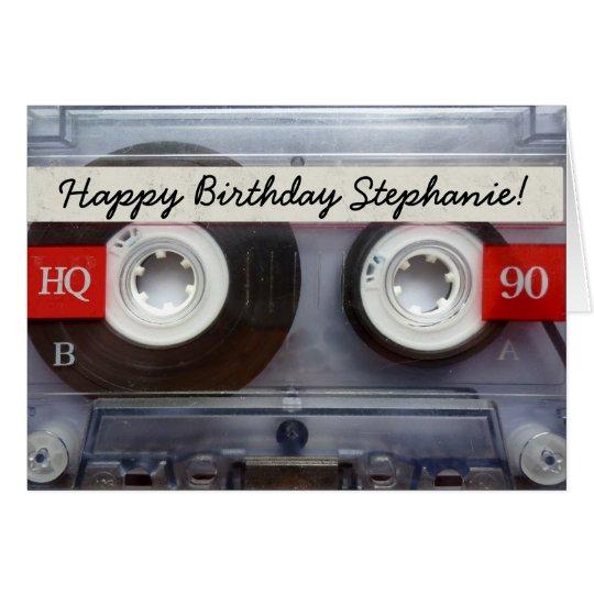 Personalisierter Retro Kassetten-Band-Geburtstag Grußkarte