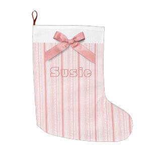 Personalisierter rosa Bogen mit den rosa und Großer Weihnachtsstrumpf