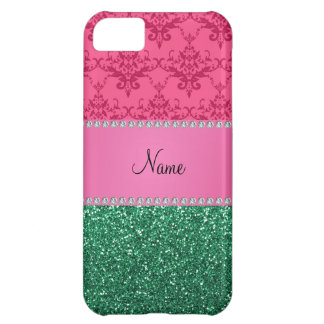 Personalisierter rosa Damastgrün-NamensGlitter iPhone 5C Hülle