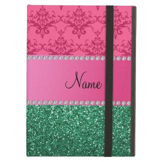Personalisierter rosa Damastgrün-NamensGlitter