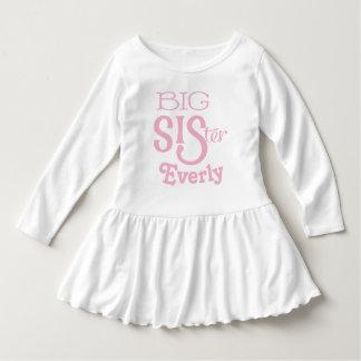 Personalisierter rosa GROSSE Schwester-gebogener Kleid