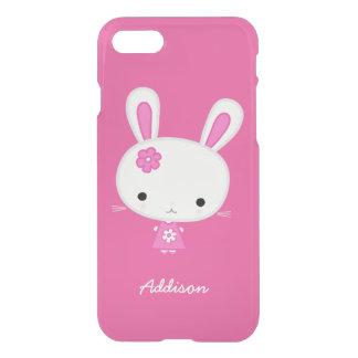 Personalisierter rosa Kawaii Häschen-freier Raum iPhone 7 Hülle
