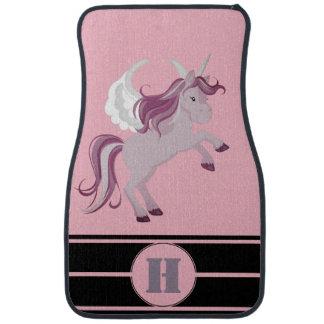 Personalisierter rosa lila Unicorn, der Streifen Autofußmatte