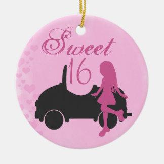 Personalisierter rosa und schwarzer Auto-Bonbon 16 Keramik Ornament