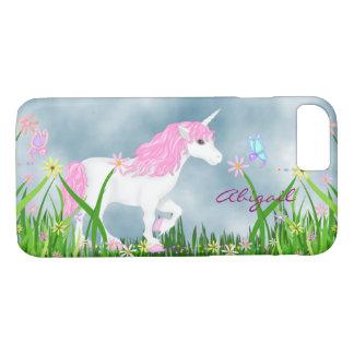 Personalisierter rosa und weißer Unicorn mit iPhone 8/7 Hülle