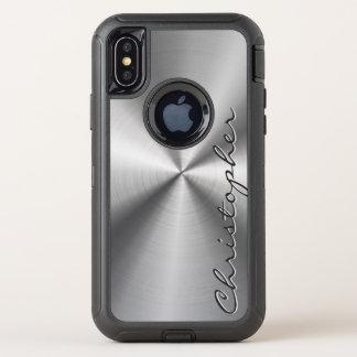 Personalisierter rostfreier Stahl-metallischer OtterBox Defender iPhone X Hülle