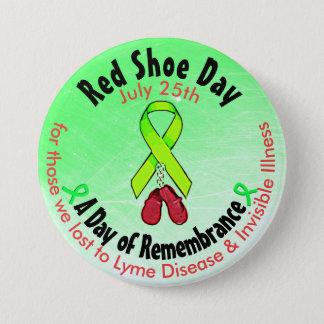 Personalisierter roter Schuh-Tag, im Runder Button 7,6 Cm