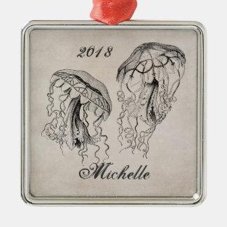 Personalisierter schöner Vintager Quallen-Strand Quadratisches Silberfarbenes Ornament