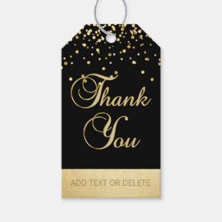 Personalisierter schwarzer GoldConfetti DANKEN Geschenkanhänger