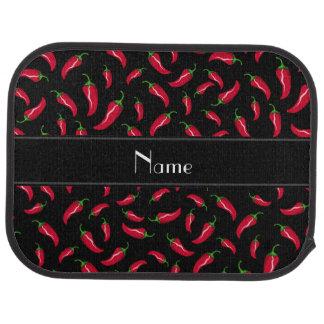 Personalisierter schwarzer roter autofußmatte