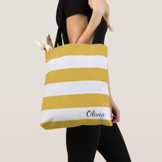Personalisierter Senf und weiße gestreifte Tasche
