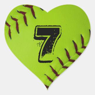 Personalisierter Softball-Herzaufkleber Herz-Aufkleber
