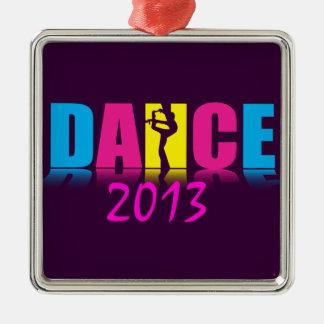 Personalisierter Tanz-Tänzer Quadratisches Silberfarbenes Ornament