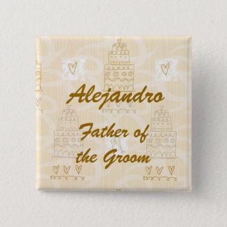 Personalisierter Vater der Braut-oder Quadratischer Button 5,1 Cm