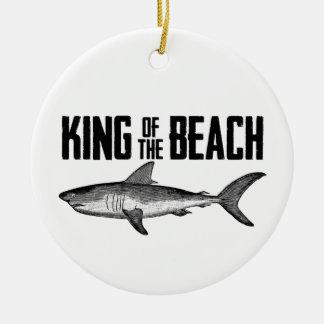 Personalisierter Vintager Haifisch-Strand-König Keramik Ornament