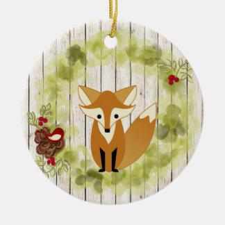 Personalisierter WaldFox, Vogel und FeiertagWreath Keramik Ornament