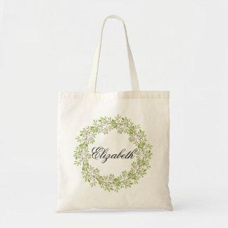Personalisierter WatercolorblumenWreath Bridemaids Budget Stoffbeutel