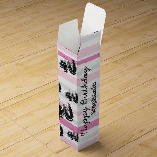 Personalisiertes 40. Geburtstags-Rosa Striped Weinbox