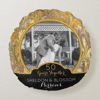 Personalisiertes 50. Hochzeits-Jahrestags-Foto Rundes Kissen