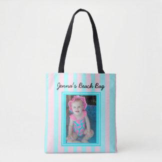 Personalisiertes Baby-Foto-Strand-Taschen-Rosa u. Tasche