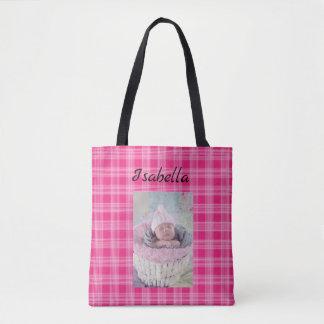 Personalisiertes Baby-Foto und rosa karierte Tasche