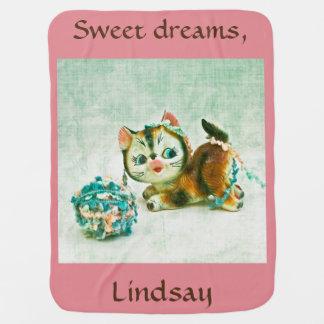 Personalisiertes BabyVintage Kitty-Katze Puckdecke