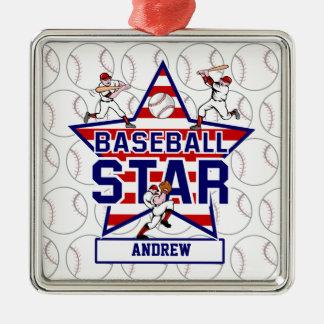 Personalisiertes Baseballsternenbanner - Quadratisches Silberfarbenes Ornament