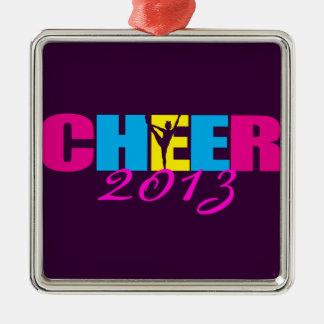 Personalisiertes Beifall Cheerleading lila Quadratisches Silberfarbenes Ornament