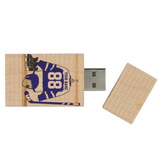 Personalisiertes blaues und weißes Eis-Hockey Holz USB Stick 3.0