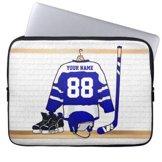 Personalisiertes blaues und weißes Eis-Hockey Laptop Sleeve Schutzhülle