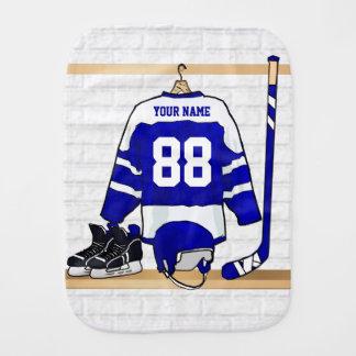 Personalisiertes blaues und weißes Eis-Hockey Spucktuch