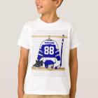 Personalisiertes blaues und weißes Eis-Hockey T-Shirt