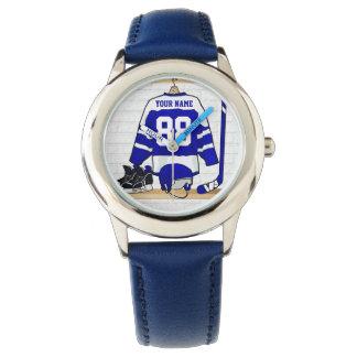 Personalisiertes blaues und weißes Eis-Hockey Uhren