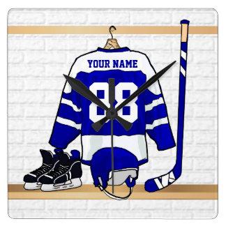 Personalisiertes blaues und weißes Eis-Hockey Wanduhren