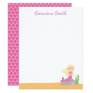 Personalisiertes blondes Rosa des 10,8 X 14 Cm Einladungskarte